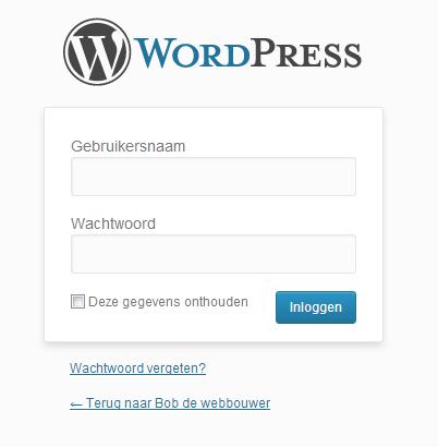 wordpress handleiding - inlogscherm van wordpress