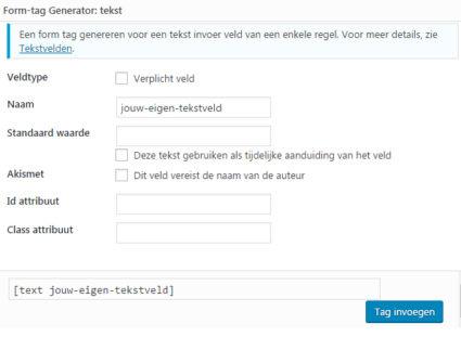 Contact Form 7 handleiding veld invoegen