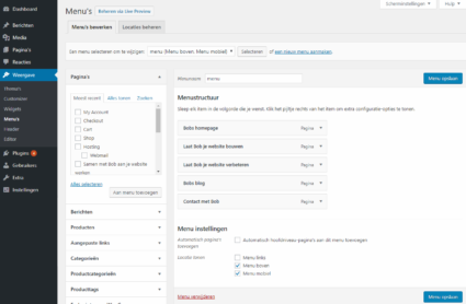Wordpress handleiding menus