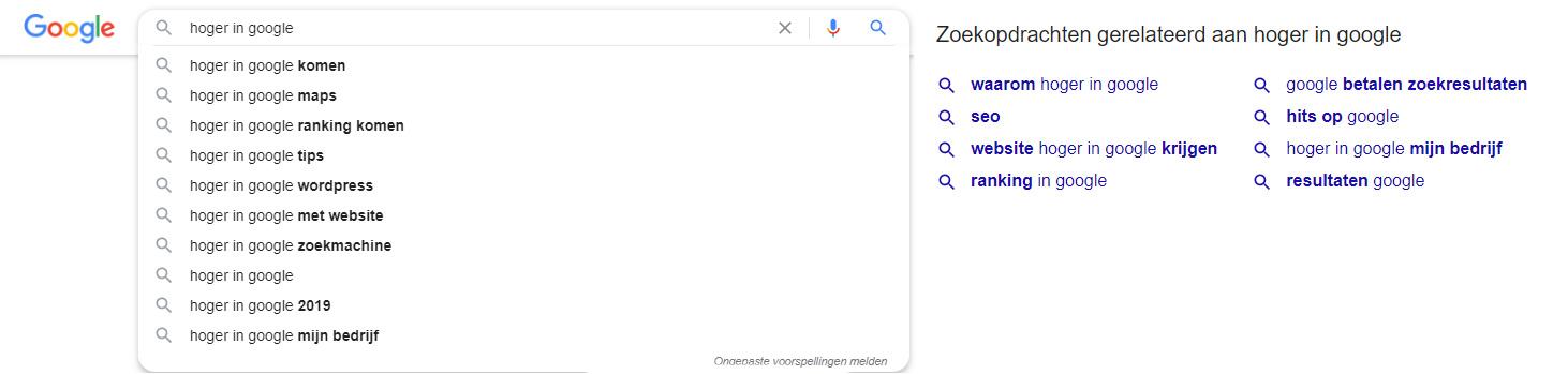 zoekwoorden onderzoek google